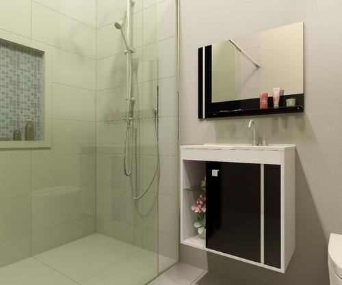 Comprar Gabinete Armário Para Banheiro Com Pia Veneza Brancopreto  Apenas -> Onde Comprar Pia De Banheiro