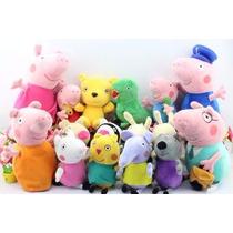 Peppa Pig Família + 12 Amigos (=16 Pelúcias) Pronta Entrega