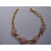 Pulseira Pedra Natural Quartzo Rosa - Banho Ouro 18k