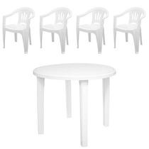 Conjunto Mesa Redonda E Cadeiras Deplástico Tramontina