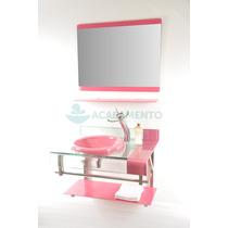 Gabinete De Vidro Banheiro Rosa 70 Cm