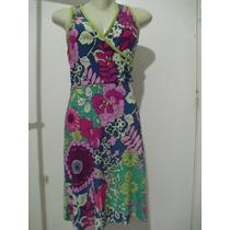 Vestido Em Liganete Colorido Novo Sem Etiqueta - Tam M