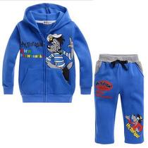 Conjunto Moleton Azul Todo Flanelado C/capuz Infantil Menino