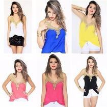 Conjunto Shorts Hot Pants 4 Botões + Regata Renda Blusinha