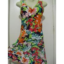 Vestido Em Liganete Estampado Novo Sem Etiqueta - Tam M