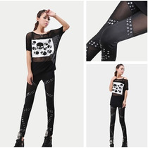 Calça_malha Leggings Com Rebites_ideal P/ J.rock_punk_emo