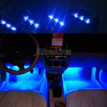 Led Luz Azul 4x3 Para Interior De Carro 12v - Frete Gratis