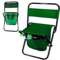 Cadeira Dobrável Pesca Camping Com Bolsa Embutida 100kg Ca05