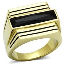 Anel Masculino Onix Folheado Ouro 18k Pedra Preta Natural