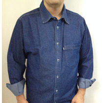 Camisa Casual Jeans Manga Longa - Direto Da Fábrica