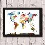 Poster Com Moldura Mapa Mundi Color!