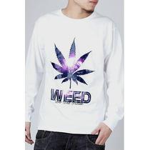 Camisa Manga Longa Weed Raggae Marley Blusa Tam M
