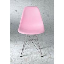Cadeira Charles Eames Eiffel - Base Metal - Rosa - Coloridas