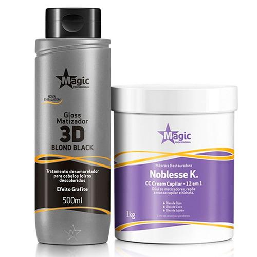 Kit Máscara Noblesse 1kg + Matizador 3d Efeito Grafite 500ml