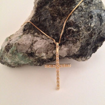 Cordão Corrente 44cm Pingente Crucifixo Folheado A Ouro 18k