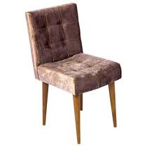 Cadeira Quadrada Marrom Chenille Pé Palito - 80x44 Cm