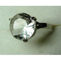 Anel Cristal Transparente Lapidação Brilhante Em Prata 950