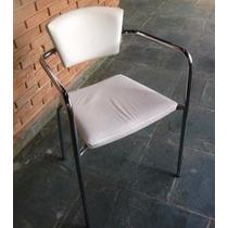 Cadeiras De Couro E Aço Para Recepção Móveis