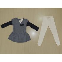 Conjunto Infantil De Vestido E Meia Calça Elian. Tamanho: 1