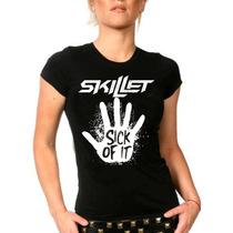Camiseta Baby Look Feminina Bandas Rock Skillet