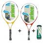Kit 2 Raquetes De Tenis Prince Rebel Jr + 1 Tubo De Bola