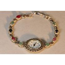 Rsp J1068 Relógio Pulseira Esmeralda, Rubi, Safira F Gratis