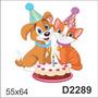 D2289 Adesivo Decorativo Gato Cachorro Aniversário Bolo Vela
