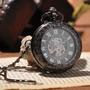 Relógio De Bolso Mecanismo A Corda Skeleton Black King
