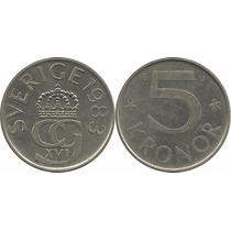 Moeda Suécia 5 Kronor Datas Variadas (anos 80) 27 Mm