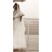 Vestido De Noiva - Vestido Offwhite - Renda - Tamanho 40/42
