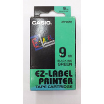 Fita Para Etiquetadora Casio Xr-9mm Original Preto No Verde.