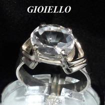 Anel Cristal Quartzo Natural Legitimo Oval Prata 925 P234/cr