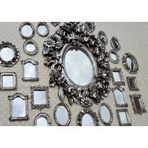 Kit 25 Espelhos / Molduras Estilo Prata Antigo