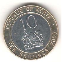 Moeda Quenia - 10 Shillings - 2005 - Bicolor - Soberba