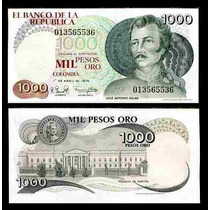 Colômbia 1000 Pesos Oro 1979 P. 421 Fe Cédula Belíssima