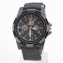 Relógio Pulso Militar Swiss Army Preto Sport Pulseira Nylon