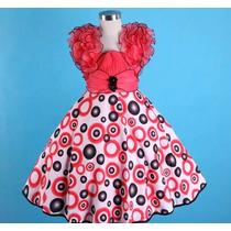 Vestido Infantil Princesa/festa Estampas E Alça Fru Fru