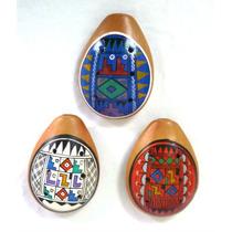 3 Ocarinas Peruana De Cerâmica Pintada A Mão Cores Sortidas