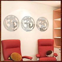 Quadros Esculturas Parede Espelho Trio Mandalas Simbolo Om