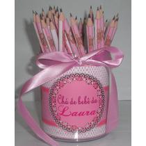 1 Porta Lápis C/ 100 Lápis Lembrancinha Aniversário Chá Bebe
