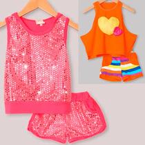 Conjunto Infantil Menina Camiseta E Short Festa Ou Casual