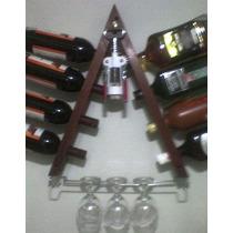 Adega Garrafeiro Vinho Parede Madeira C/porta Taças Cromado
