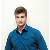 Camisa Social Masculina - Dortmund - Manga Longa Azul/preto