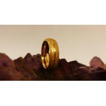 Aliança Banhada A Ouro 18k 8mm Diamantada Com Friso