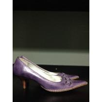 Sapato Scarpin, Marca Marina Mooz, Couro (cor Roxo), Tam. 35