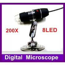 Microscópio Usb 200x 2.0-mp 8-leds Digital Oportunidade