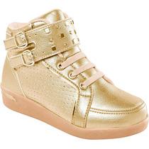 Tênis Sneaker Dourado Com Fivelas Laterais Pampili
