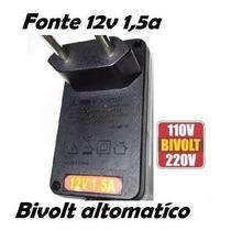 Fonte 12v 1.5a Cftv, Roteador, Monitor, Modem, Tv Lcd, Radio