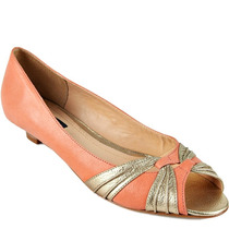 37 Sapato Peep Toe Emporio Naka Coral Dourado Couro Legítimo
