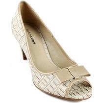 Sapato Peep Toe Emporio Naka Bege Areia Couro Laço Original